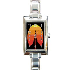 Plane Rocket Fly Yellow Orange Space Galaxy Rectangle Italian Charm Watch