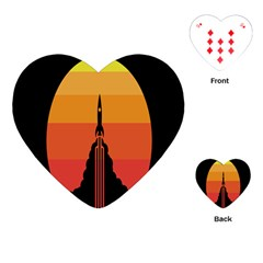 Plane Rocket Fly Yellow Orange Space Galaxy Playing Cards (heart)
