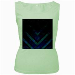 Blue Background Wallpaper Motif Design Women s Green Tank Top