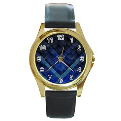 Blue Background Wallpaper Motif Design Round Gold Metal Watch