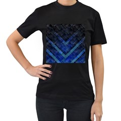 Blue Background Wallpaper Motif Design Women s T Shirt (black) (two Sided)