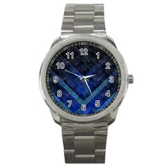 Blue Background Wallpaper Motif Design Sport Metal Watch