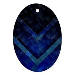 Blue Background Wallpaper Motif Design Oval Ornament (two Sides)