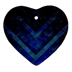 Blue Background Wallpaper Motif Design Heart Ornament (two Sides)
