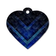 Blue Background Wallpaper Motif Design Dog Tag Heart (One Side)