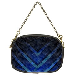 Blue Background Wallpaper Motif Design Chain Purses (one Side)