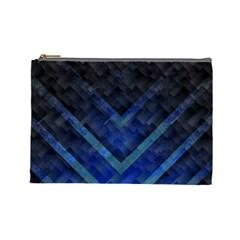 Blue Background Wallpaper Motif Design Cosmetic Bag (large)