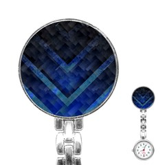 Blue Background Wallpaper Motif Design Stainless Steel Nurses Watch