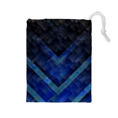 Blue Background Wallpaper Motif Design Drawstring Pouches (large)