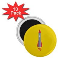 Plane Rocket Space Yellow 1 75  Magnets (10 Pack)