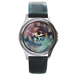 Blur Bokeh Colors Points Lights Round Metal Watch