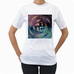 Blur Bokeh Colors Points Lights Women s T-Shirt (White) (Two Sided)