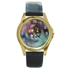 Blur Bokeh Colors Points Lights Round Gold Metal Watch