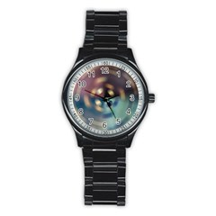 Blur Bokeh Colors Points Lights Stainless Steel Round Watch