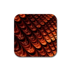 Brown Fractal Mathematics Frax Rubber Square Coaster (4 Pack)
