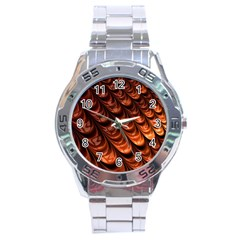 Brown Fractal Mathematics Frax Stainless Steel Analogue Watch
