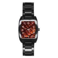 Brown Fractal Mathematics Frax Stainless Steel Barrel Watch
