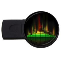 Plaid Light Neon Green Usb Flash Drive Round (2 Gb)