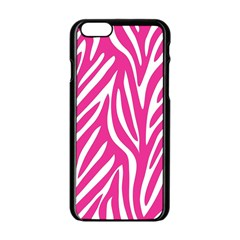 Zebra Skin Pink Apple Iphone 6/6s Black Enamel Case