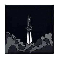Plane Rocket Grey Tile Coasters