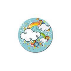Rainbow Clouds Tree Circle Orange Golf Ball Marker (4 Pack)