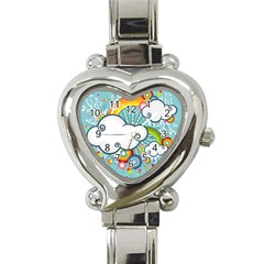 Rainbow Clouds Tree Circle Orange Heart Italian Charm Watch