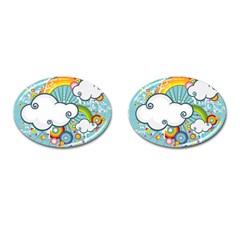 Rainbow Clouds Tree Circle Orange Cufflinks (oval)
