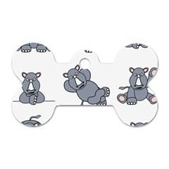 Rhinoceros Animal Rhino Dog Tag Bone (two Sides)