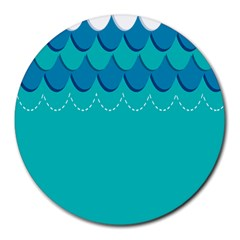 Sea Wave Blue Water Beach Round Mousepads
