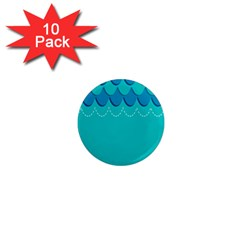 Sea Wave Blue Water Beach 1  Mini Magnet (10 Pack)
