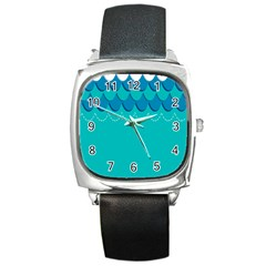 Sea Wave Blue Water Beach Square Metal Watch