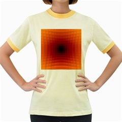 Orange Background Wallpaper Texture Lines Women s Fitted Ringer T Shirts