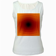 Orange Background Wallpaper Texture Lines Women s White Tank Top