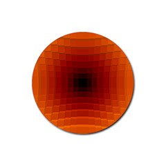 Orange Background Wallpaper Texture Lines Rubber Round Coaster (4 Pack)