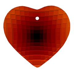 Orange Background Wallpaper Texture Lines Heart Ornament (two Sides)