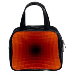 Orange Background Wallpaper Texture Lines Classic Handbags (2 Sides)