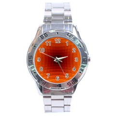 Orange Background Wallpaper Texture Lines Stainless Steel Analogue Watch