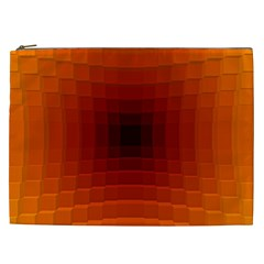 Orange Background Wallpaper Texture Lines Cosmetic Bag (xxl)