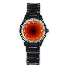 Orange Background Wallpaper Texture Lines Stainless Steel Round Watch