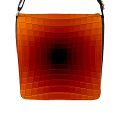 Orange Background Wallpaper Texture Lines Flap Messenger Bag (l)