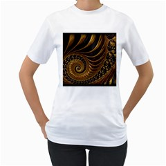 Fractal Spiral Endless Mathematics Women s T Shirt (white) (two Sided)