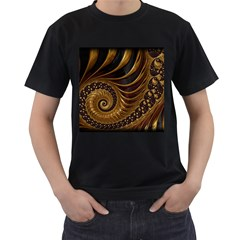 Fractal Spiral Endless Mathematics Men s T Shirt (black) (two Sided)