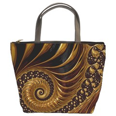 Fractal Spiral Endless Mathematics Bucket Bags