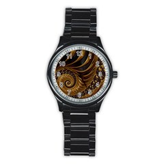 Fractal Spiral Endless Mathematics Stainless Steel Round Watch