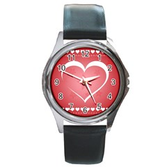 Postcard Banner Heart Holiday Love Round Metal Watch