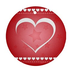 Postcard Banner Heart Holiday Love Ornament (round)