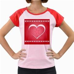 Postcard Banner Heart Holiday Love Women s Cap Sleeve T Shirt