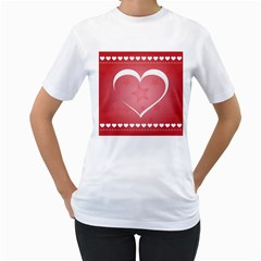 Postcard Banner Heart Holiday Love Women s T Shirt (white) (two Sided)