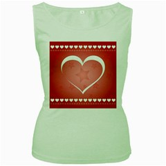 Postcard Banner Heart Holiday Love Women s Green Tank Top