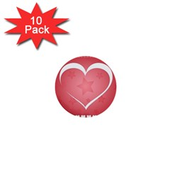 Postcard Banner Heart Holiday Love 1  Mini Buttons (10 Pack)